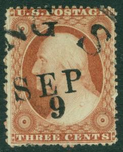 EDW1949SELL : USA 1857 Scott #25 Used dated cancel. Light corner crease Cat $150