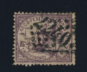 SPAIN - 1873 - 40c LILAC CANCELED FRENCH NUMERAL 2240 OF MARSEILLES