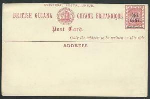 BR GUIANA QV ONE CENT on 3c ship type postcard fine unused.................61477