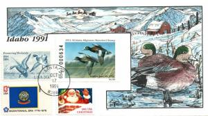 1991 Santa Idaho USA Duck Stamp Milford Hand Painted First Day Cover