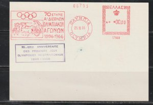Greece Metered 70th Anniversary Cover for Olympics