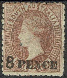 SOUTH AUSTRALIA 1876 QV 8 PENCE ON 9D