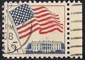 1208 5 cent Flag & White House VF used