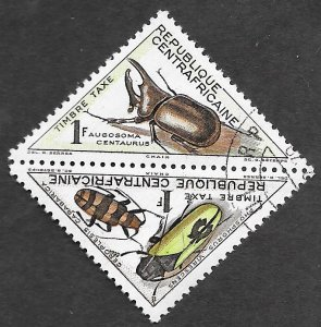 Central African Republic Scott #J3-J4 1fr Beetle pair Postage Due (1962) CTO NH