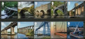 Great Britain Sc 3371-80 2015 Bridges stamp set mint NH