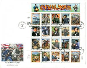 USA #2974 First Day Issue CIVIL WAR Pane of 20 Cover Stamps 32¢ Postage 1995