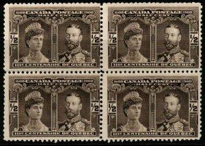 CANADA SG188 1908 ½c SEPIA BLOCK OF 4 MNH