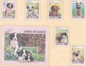 Benin 1087-93 1998 Dogs Full Set w/Souvenir Sheet Very Fine