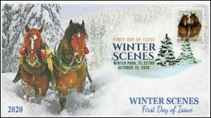 20-244, 2020, Winter Scenes, FDC, Digital Color Postmark, Horses