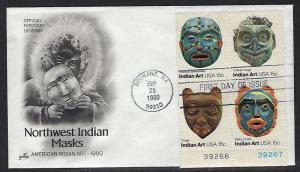 FDC First Day Cover #1834 37 Indian Masks Tllingits Boola Boola Northwest Tribe