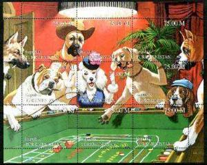 Turkmenistan 1999 Gambling Dogs composite perf sheetlet c...
