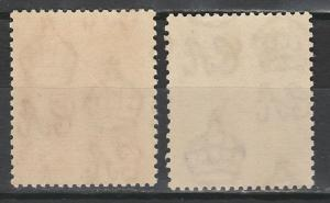 BARBADOS 1925 KGV SEAHORSES 11/2D AND 21/2D PERF 13.5 X 12.5