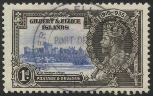 GILBERT & ELICE IS. 1935 1d KGV  Sc 33 Used VF, Silver Jubilee, Marakei postmark
