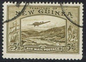 NEW GUINEA 1939 BULOLO AIRMAIL 5/- USED