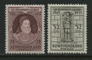 Newfoundland 1933 Sir Humphrey Gilbert 24 and 32 cents mint o.g. hinged