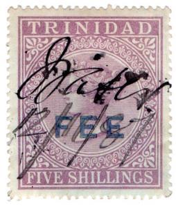 (I.B) Trinidad & Tobago Revenue : Fee 5/- (black overprint)