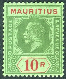 MAURITIUS-1924 10r Green & Grey Emerald.  A lightly mounted mint example Sg 241