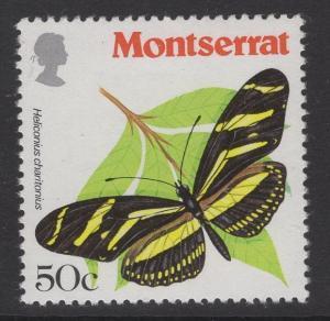 MONTSERRAT SG486w 1981 50c BUTTERFLIES WMK UPRIGHT MNH