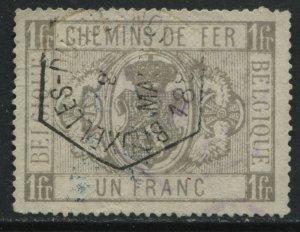 Belgium 1879 Parcel Post 1 franc gray used
