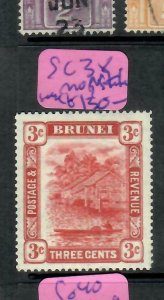 BRUNEI  (P1905BB)  3C  SG 38   MOG   SCARCE STAMP