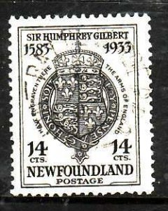 Newfoundland-Sc#221- id8-used 14c Coat-of-Arms-1933-