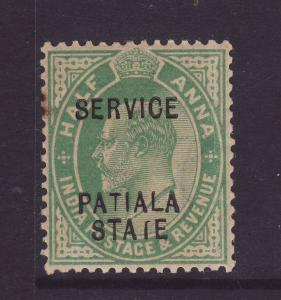 1907 India – Patiala ½ Anna Official With STAIE for STATE...