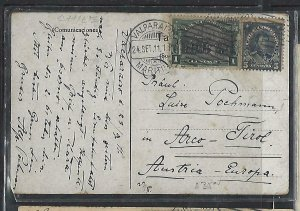 CHILE  (P3108B) 1911   CENT 1C+5C  ON PPC VALPARAISO TO AUSTRIA