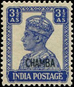 India - Chamba SC# 96 SG# 115 George VI 3-1/2As MNH