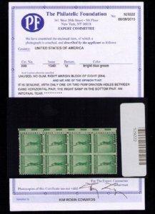 US Sc 899 Block W.PF Cert only 2 perf holes center F-VF