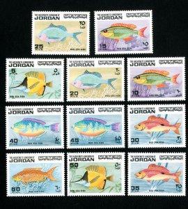 Jordan Stamps # 758-68 VF Fish set OG NH