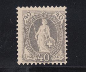 Switzerland Sc 84b MLH. 1901 40c gray Helvetia, perf 11½x12.