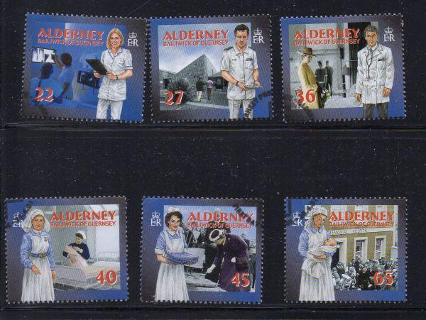 Alderney Sc 164-9 2001 Health Services  stamp set used