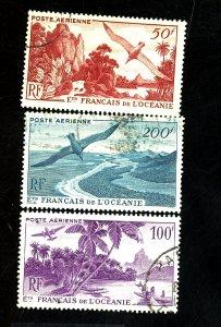 FRENCH POLYNESIA #C17-19 USED FVF Cat $37
