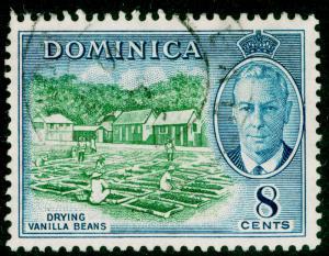 DOMINICA SG127, 8c blue-green & blue, FINE USED.