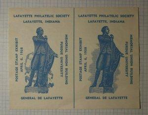 Postage Stamp Exhibit Lafayette IN 1938 General Lafayette Philatelic Souvenir Ad