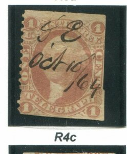 US Scott #R4c 1 Cent Telegraph Used.  Free Shipping.