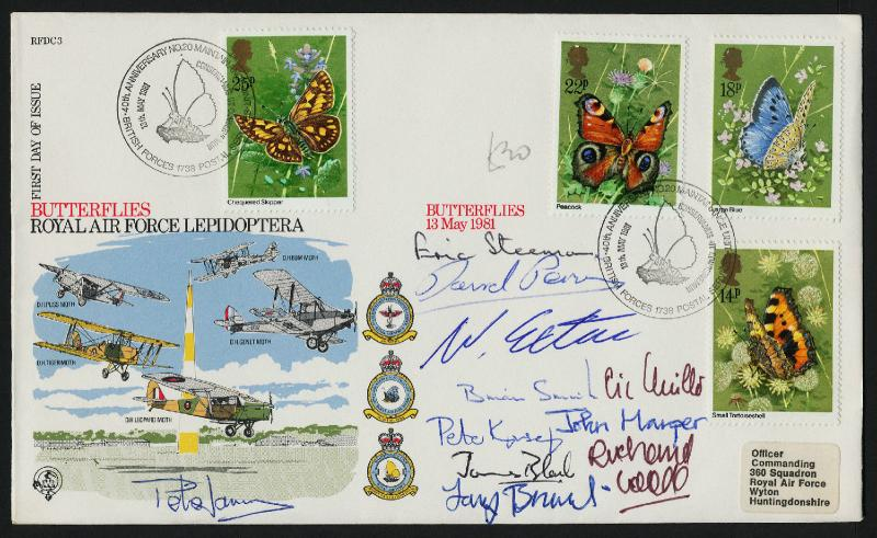 Great Britain 941-4 on FDC Butterfly - RAF autographed cover
