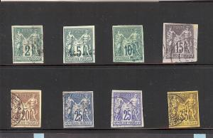 French (Colonies), 30-36, Peace & Commerce Singles ,**Used**