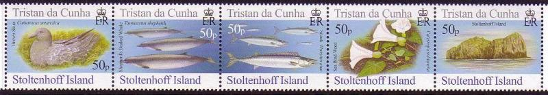 Tristan da Cunha Birds Fish Marine Life Plants Stoltenhoff Island strip of 5v