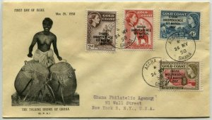 GHANA to USA FDC Gold Coast Stamps Overprint Postage REGISTERED First Day Cover