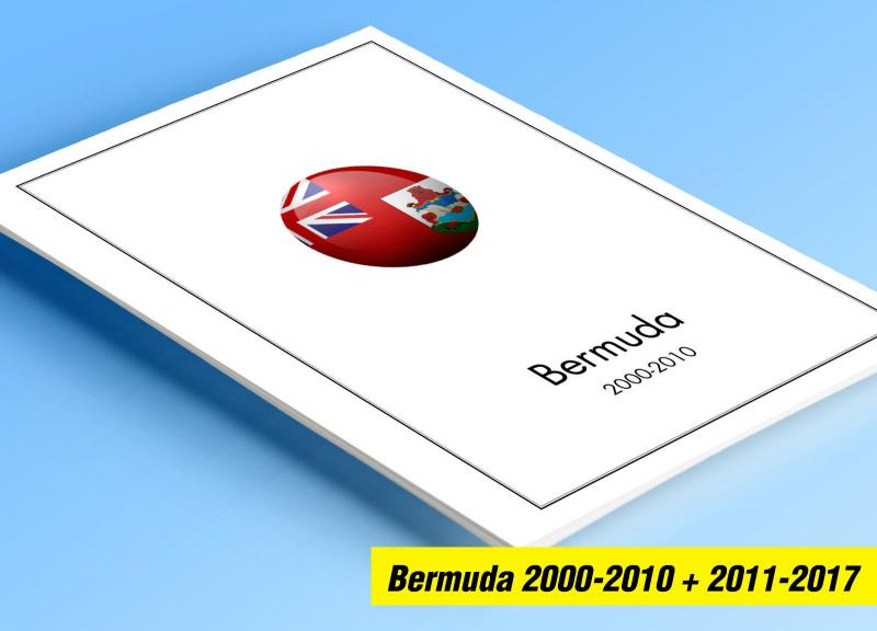 COLOR PRINTED BERMUDA 2000-2017 STAMP ALBUM PAGES (50 illustrated pages)