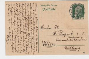 germany bavaria 1912 stamps post card ref 20101