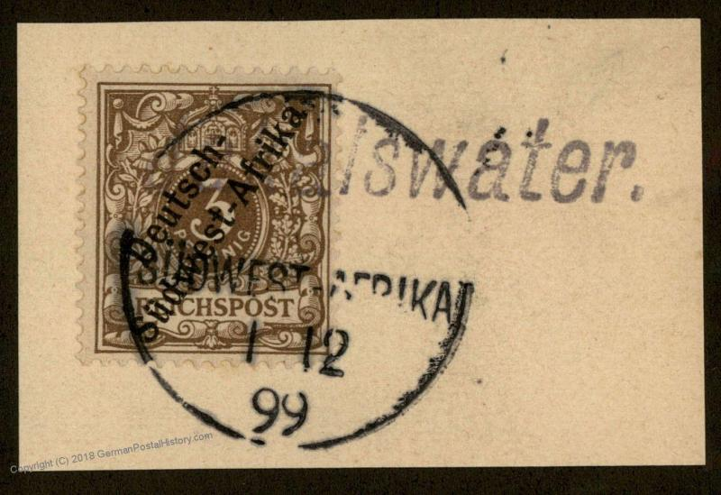 German 1899 SW Africa JAKALSWATER Wanderstempel DSWA Expertized Czimek BPP 78536