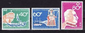 French Polynesia Scott C45-C47 Mint NH (Catalog Value $34.75)