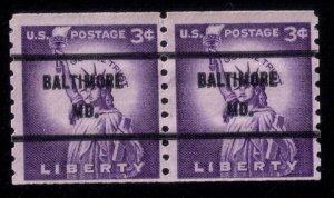 US Sc #1057 Precancel Coil Pair Baltimore Md. F-VF