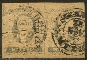 MEXICO #35 RARE Used PAIR w/ Cert - 1867 1/2r Black on Buff