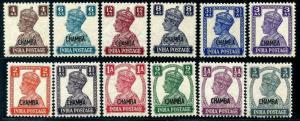 HERRICKSTAMP INDIA-CHAMBA Sc.# 89-100 1942-44 KG VI Overprints SG £105