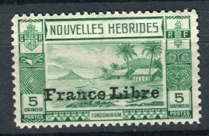 FRENCH; NEW HEBRIDES 1940s FRANCE LIBRE pictorial issue Mint hinged 5c. value
