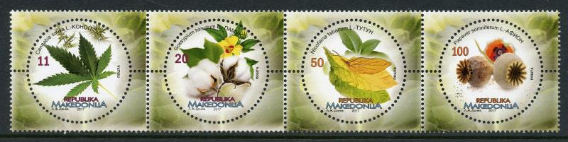 Macedonia 2017 MNH Flora Cannabis Papaver 4v Strip Flowers Plants Stamps