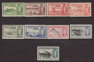 1950 Turks & Caicos Short Set to 1/- Mounted Mint SG221/229